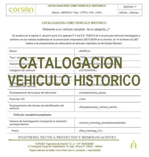 Catalogacion Turismo como Vehiculo Historico